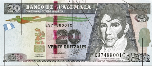 Guatemala Banknotes 200 Quetzal Gold Banknote In Paper Money for Collection Collections, Lots